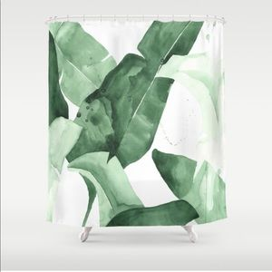 Society6 Green Leaf Watercolor Shower Curtain